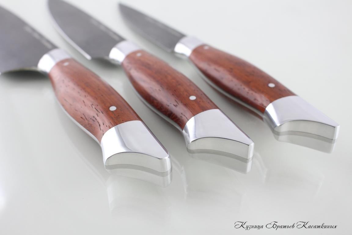 "Кухонные ножи Kitchen Knife Set ""Ratatouille"". kh12mf Steel. Padouk Handle"