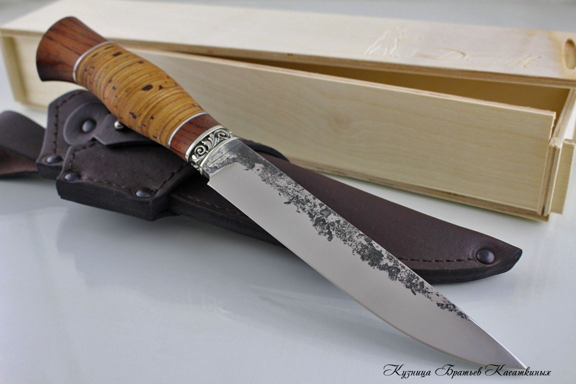 "Hunting Knife ""Lisa"". Stainless Steel 95h18. Bubinga and Birchbark Handle"