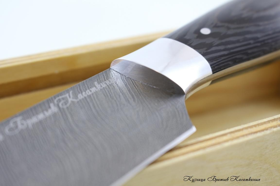 General-Purpose Kitchen Knife. Damascus Steel. Wenge Handle