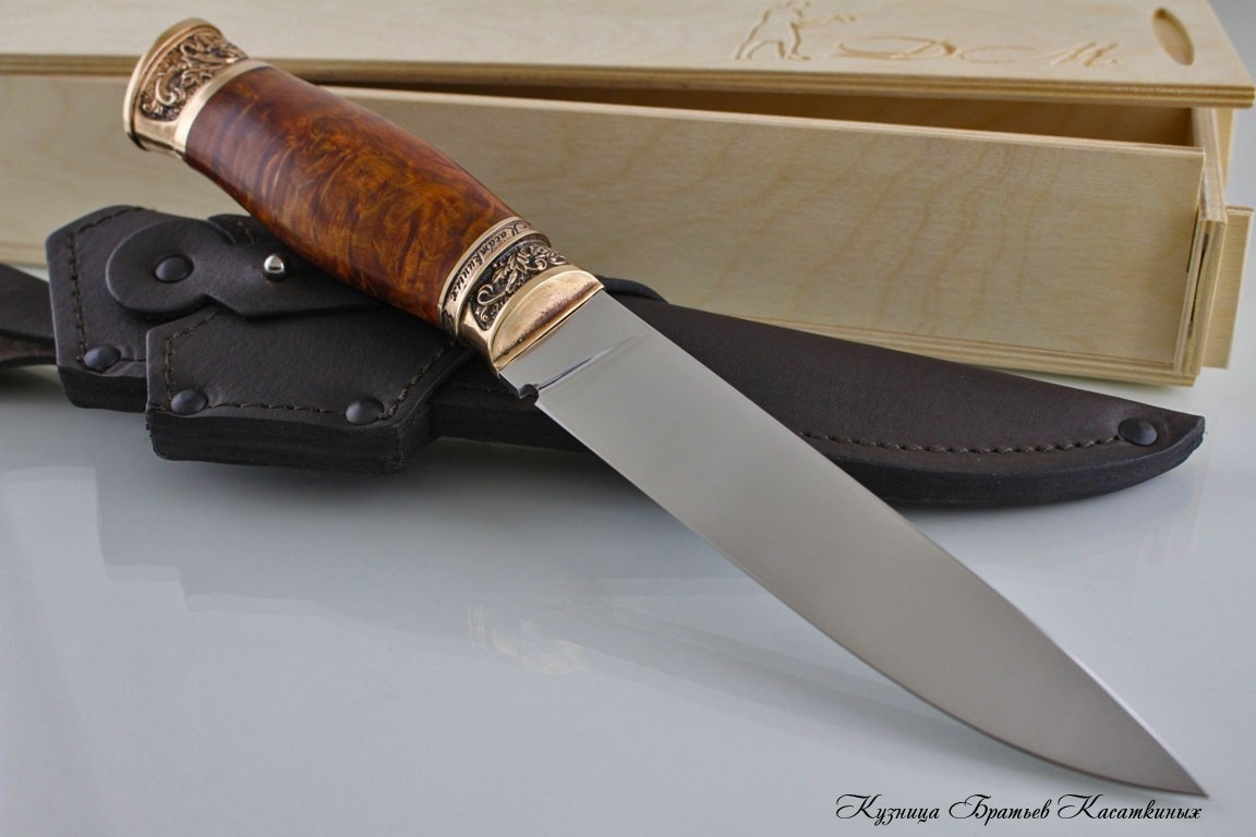 "Hunting Knife ""Zasapozny"" Stainless Steel 95h18. Karelian Birch Spalt Handle. Bronze Bolster"
