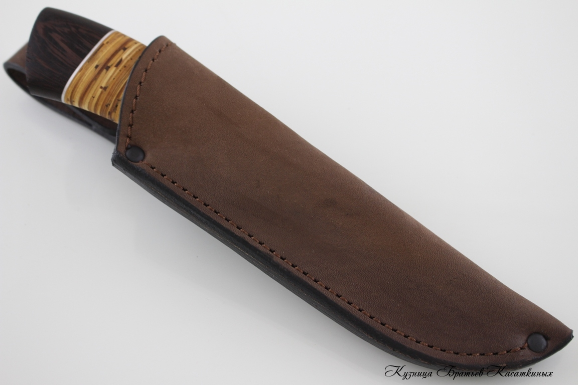"Hunting Knife ""Klyk"". Stainless Steel 95h18. Birchbark and Wenge Handle"