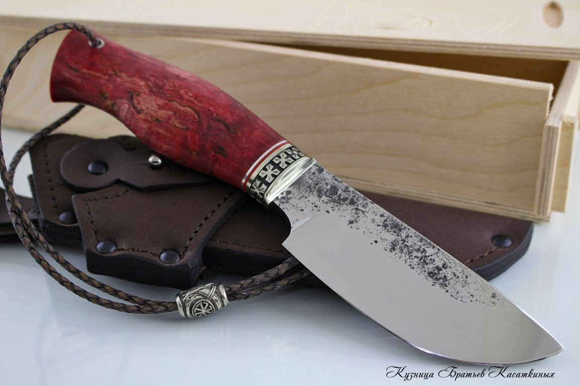 "Hunting Knife ""Sova"". kh12mf Steel. Karelian Birch Handle (red)"