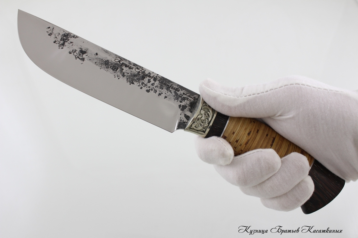 "Hunting Knife ""Medved"". Stainless Steel 95h18. Birchbark and Wenge Handle"