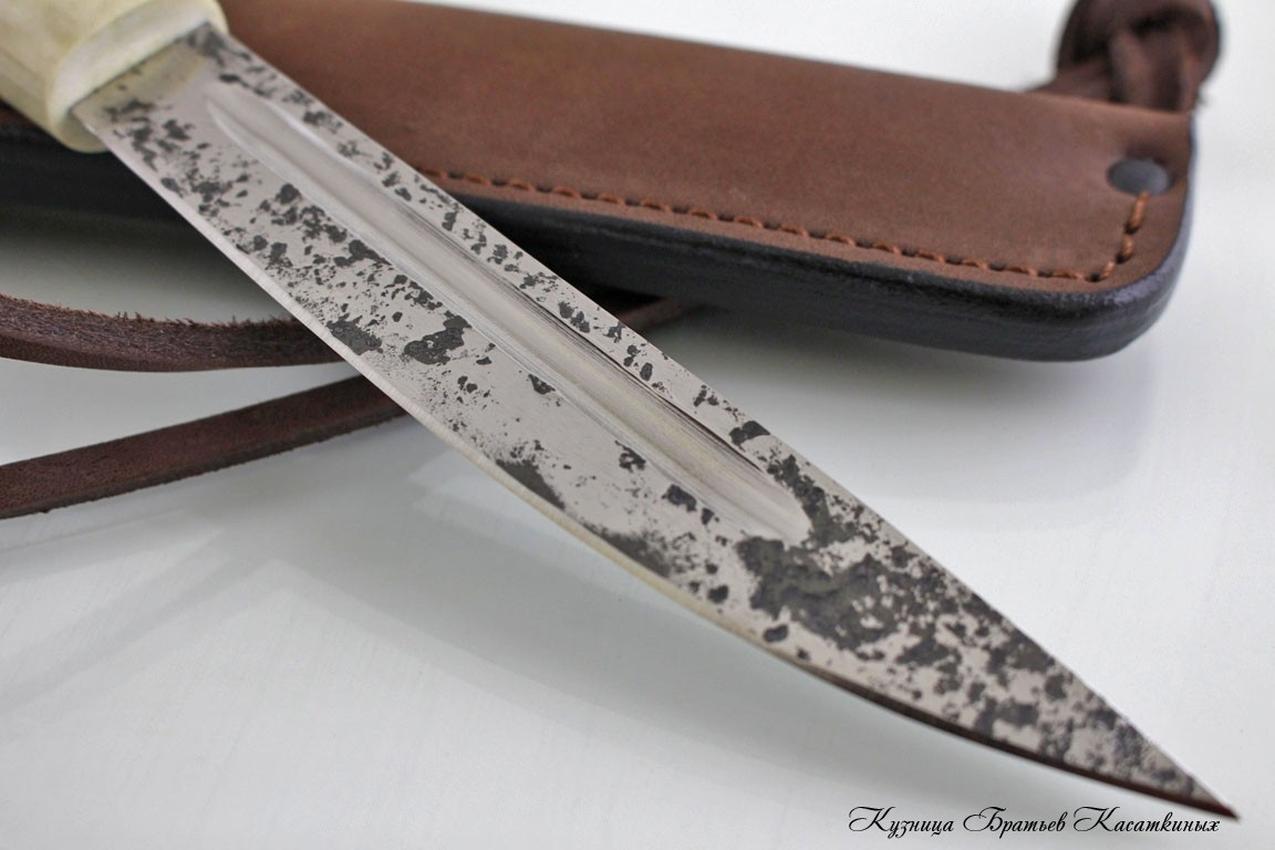 Yakut knife (medium size). h12mf Steel. Karelian Birch handle