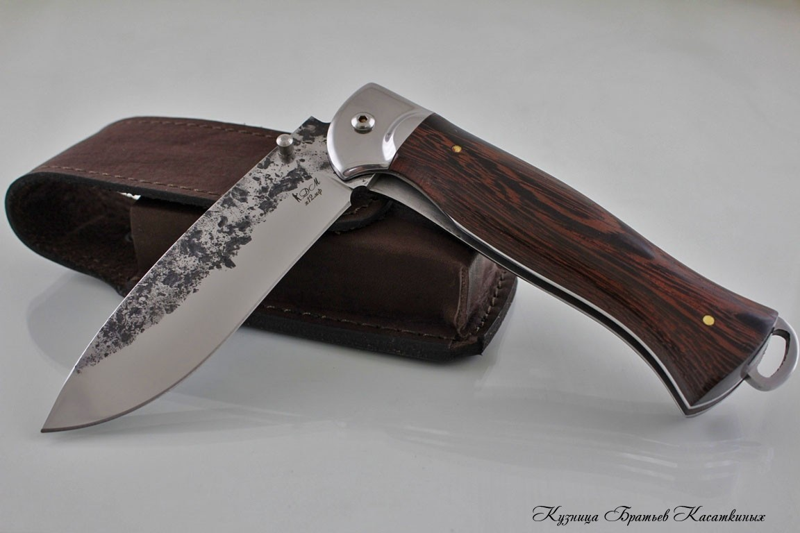 "Folding Knife ""Botsman"". h12mf Steel. Wenge Handle (hammered)"