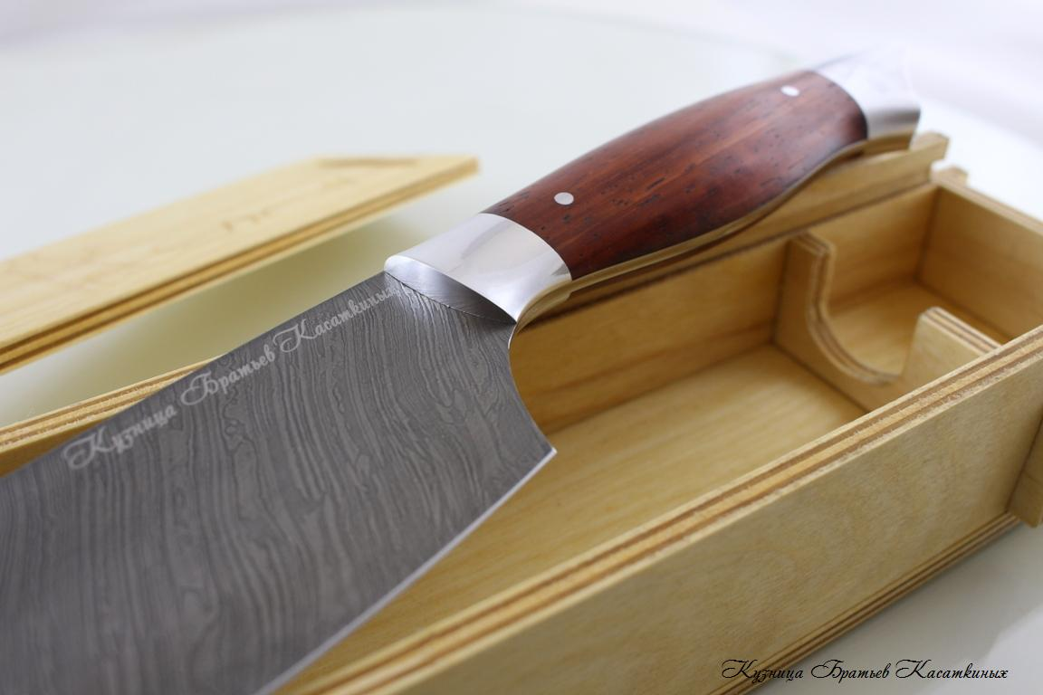 Chef's Knife. Damascus Steel. Padouk Handle Бубинга Помеле