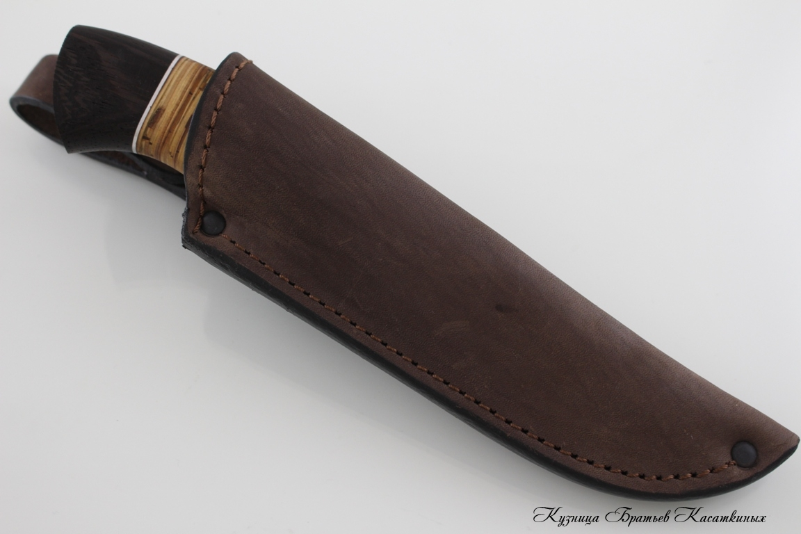 "Hunting Knife ""Sova"". Stainless Steel 95h18. Birchbark and Wenge Handle"