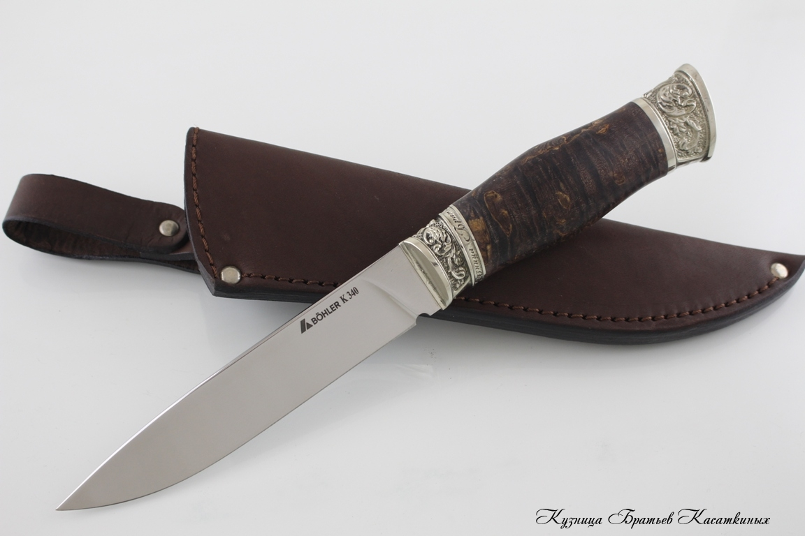 "Hunting Knife ""Zasapozhny"". Bohler k 340 Steel. Karelian Birch Handle (brown)"