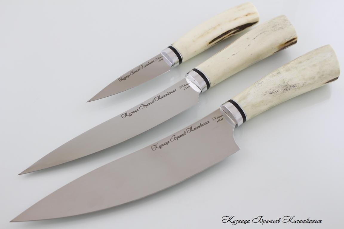 "Кухонные ножи Kitchen Knife Set ""Master Chef"". kh12mf Steel. Elk Horn Handle"