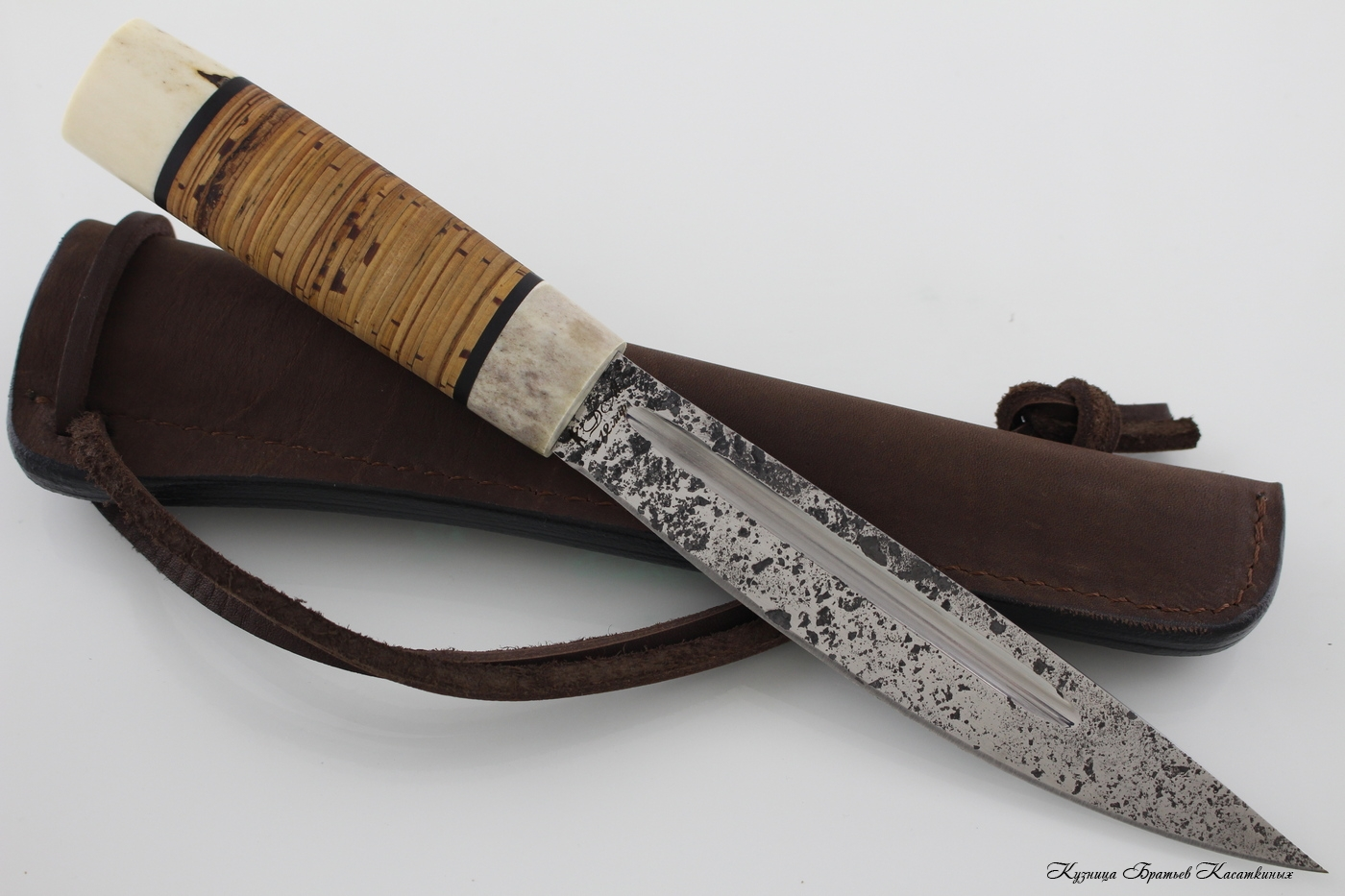 Yakutian knife (big size). Stainless Steel 95h18. Birchbark handle