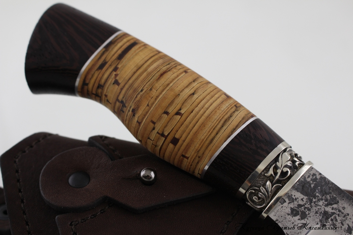 "Hunting Knife ""Sova"". kh12mf Steel. Birchbark and Wenge Handle"