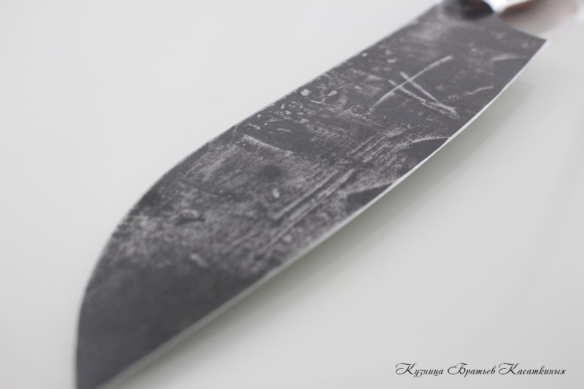 Santoku Knife. 95kh18 Steel (hammered). Wenge Handle