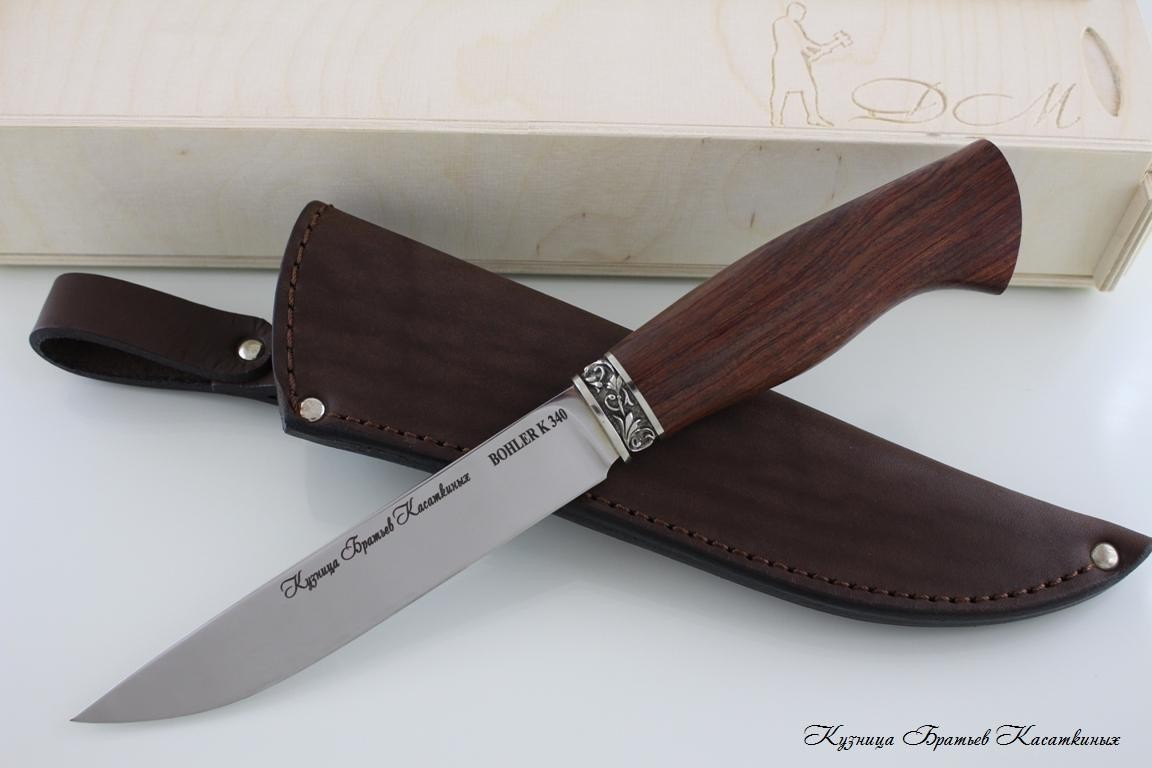 "Hunting Knife ""Lisa"". Bohler k 340 Steel. Bubinga Handle"