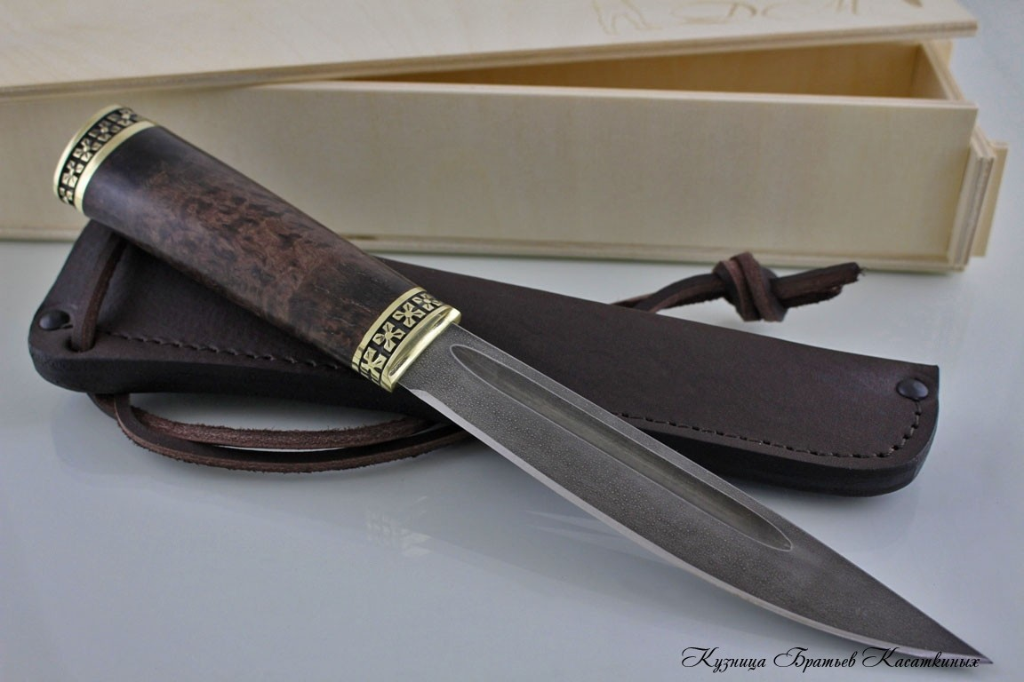 Yakutian knife (medium size). HV-5 Steel. Stabilized Karelian Birch handle, brass