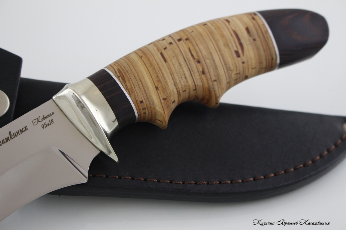 "Hunting Knife ""Voron"". Stainless Steel 95h18. Birchbark and Wenge Handle"